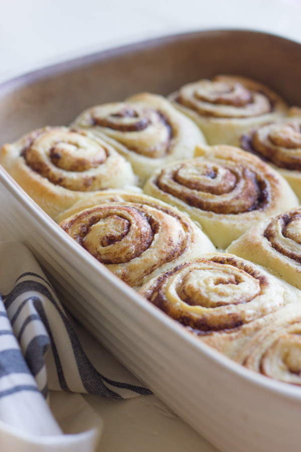 Overnight Cinnamon Rolls in a baking dish.