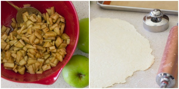 Two photos - one of the Apple Hand Pie filling and the other of the pie crust rolled out.