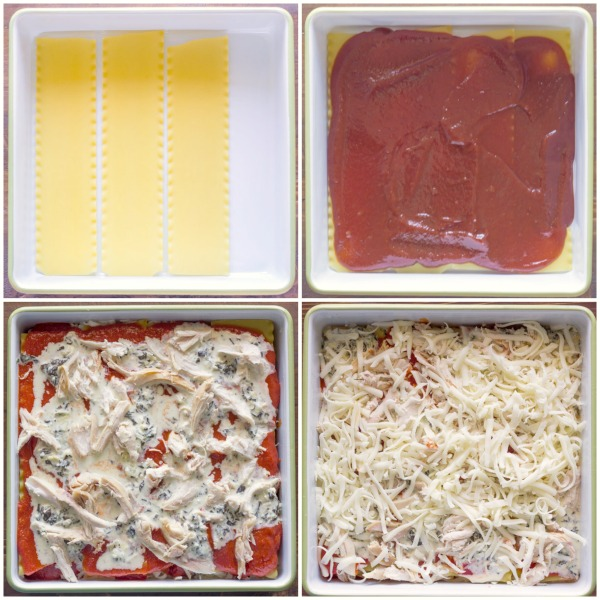 A step by step photo of how to assemble the Spinach and Artichoke Chicken Lasagna.