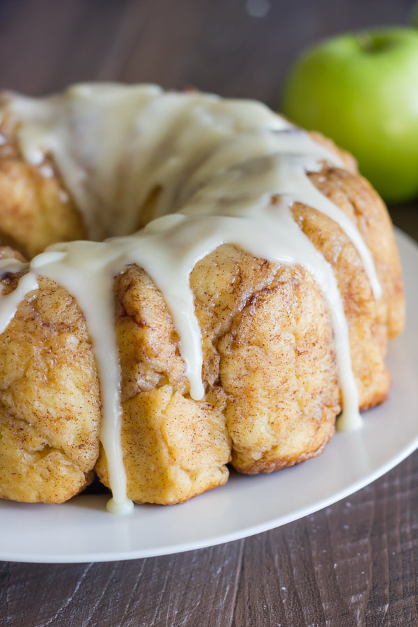 Apple Cinnamon Pull Apart Bread with Apple Cider Glaze on a plate.