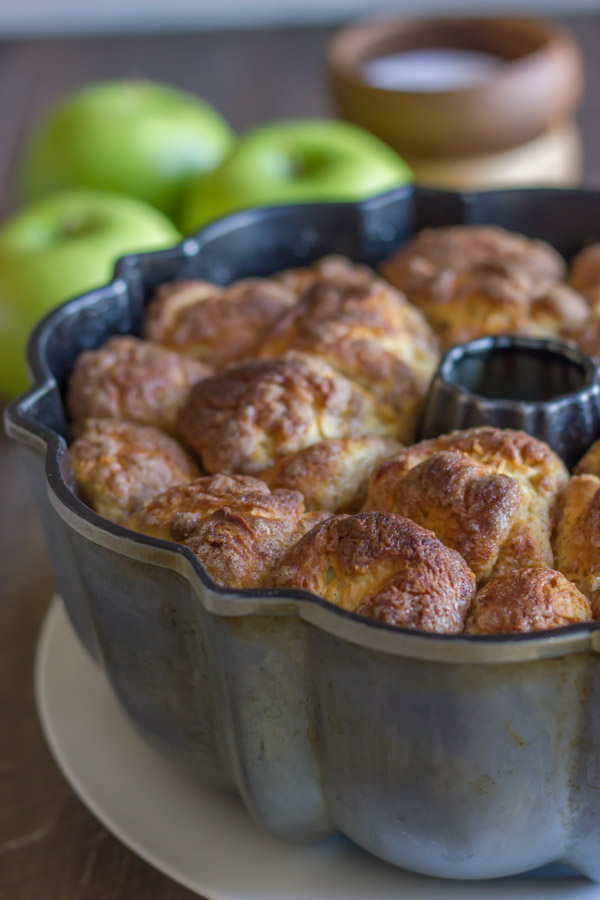 Apple Cinnamon Pull Apart Bread - pour on the Apple Cider Glaze, and then watch the whole thing disappear!