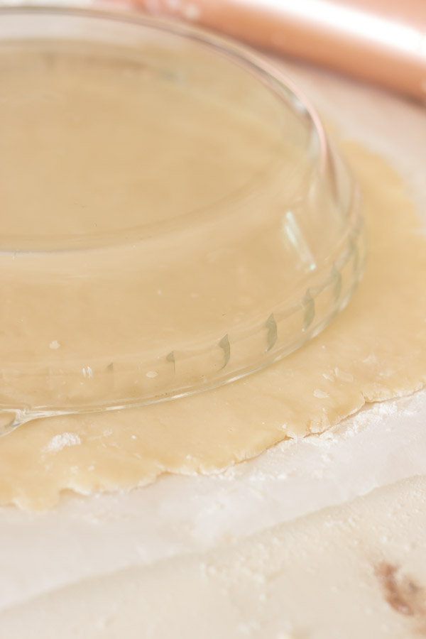 Pie Crust Tutorial Step 5 - pie pan placed upside down on the pie dough.