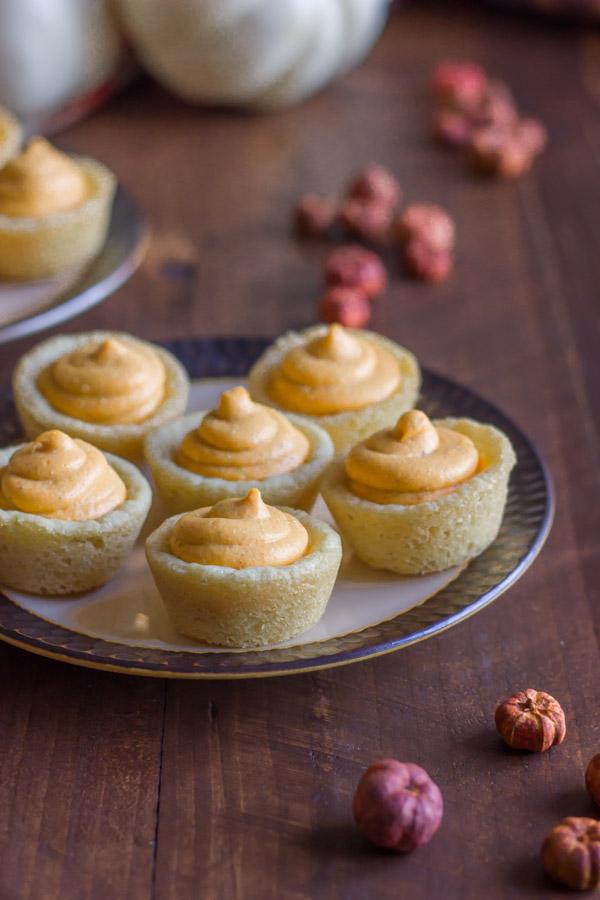 Easy Mini Pumpkin Pie Tarts on a plate.