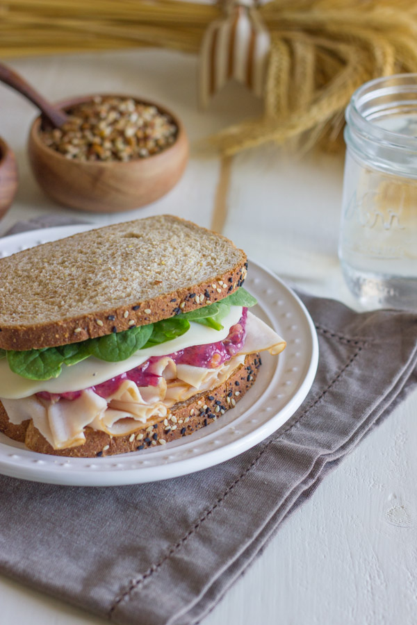 Turkey And Cranberry Sandwich on a plate.