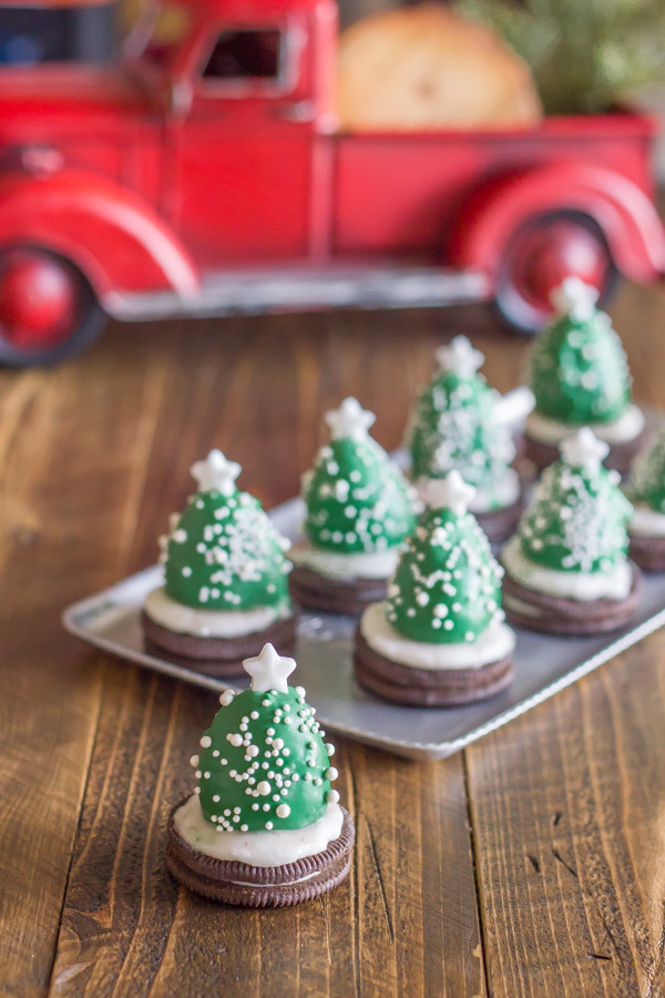 Chocolate Covered Strawberry Christmas Tree in front of a serving tray of more trees.