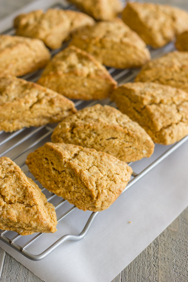 Gingerbread Oat Scones on a cooling rack.