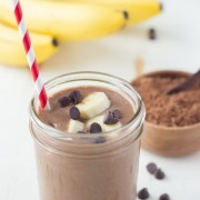 Chocolate Banana Smoothie - A creamy chocolatey banana smoothie made with three ingredients!