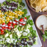 Healthy Chopped Taco Salad - with a creamy cilantro lime dressing. So healthy and fresh!