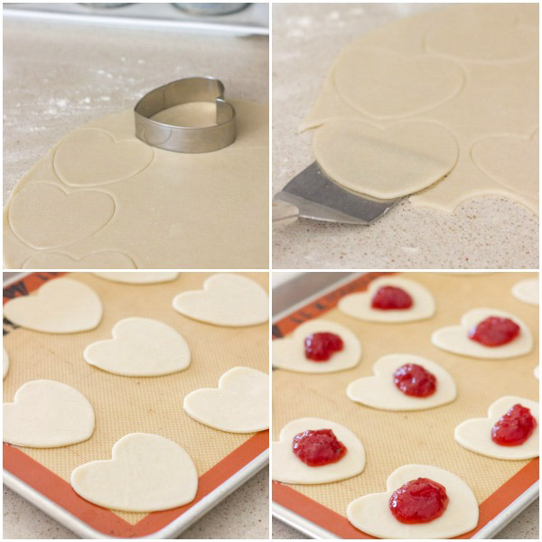 Four step-by-step photos showing how to make the Strawberry Pie Hearts.