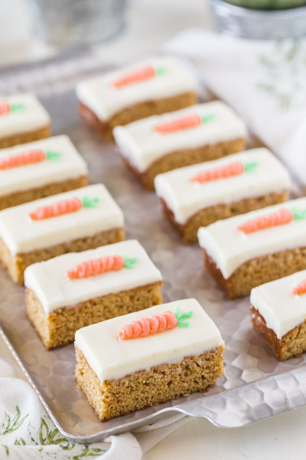 These Carrot Cake Bars with Cream Cheese Frosting are moist, sweet and perfectly spiced!