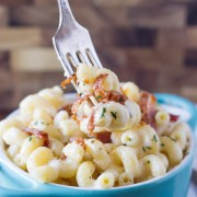 Creamy Mac and Cheese With Bacon - the creamiest cheese sauce plus salty bits of bacon make this dish irresistible!