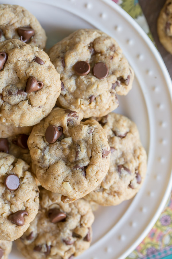 Whole Wheat Oatmeal Chocolate Chip Cookies piled on a white plate.
