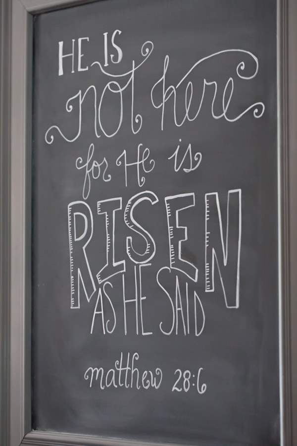 A chalk board that says He is not here for He is risen as He said - Matthew 28:6.