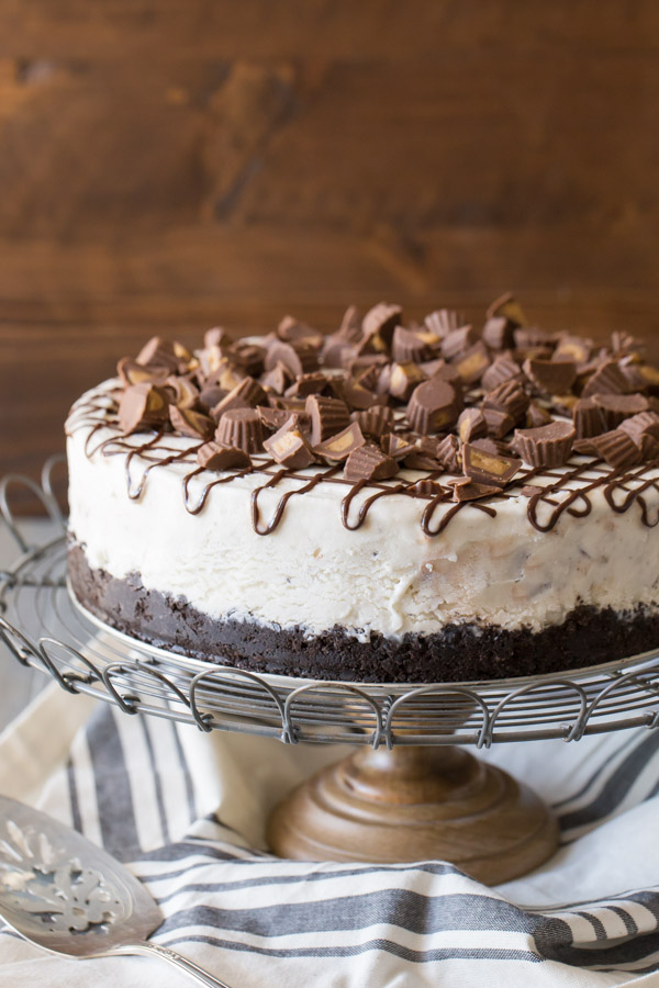 Peanut Butter Cup Ice Cream Cake on a cake stand.