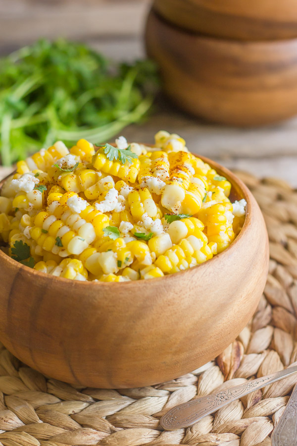 A bowl of Chili Lime Sweet Corn Salad.