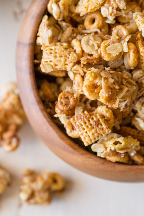 Healthier Coconut Almond Chex Mix in a wood bowl.