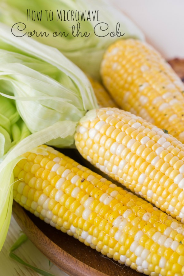 Corn on the Cob that has been cooked in the microwave with the husks pulled back and left on the ends.