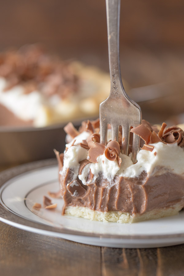 Homemade Chocolate Pudding Pie slice on a plate with a fork sticking in it and some bites missing.