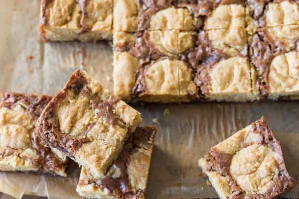 Peanut Butter Cookie Brownies cut into squares.