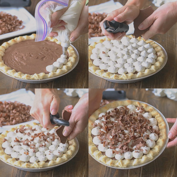 A group of four photos showing the Homemade Chocolate Pudding Pie being topped with whipped cream and milk chocolate curls.