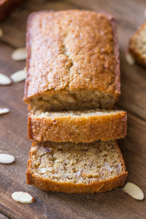 Healthier Banana Bread mini loaf that has been sliced.