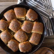 Party Bun Style Sloppy Joes - Just like the ham and cheese party buns everyone loves, but with a sloppy joe type filling. You'll love this quick and easy recipe!
