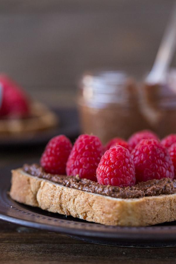 Chocolate Hazelnut Raspberry Toast on a plate.