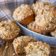 Banana Muffins With Almond Oat Streusel Topping - Soft, fluffy banana muffins made with Greek yogurt and coconut oil - super quick and easy too!