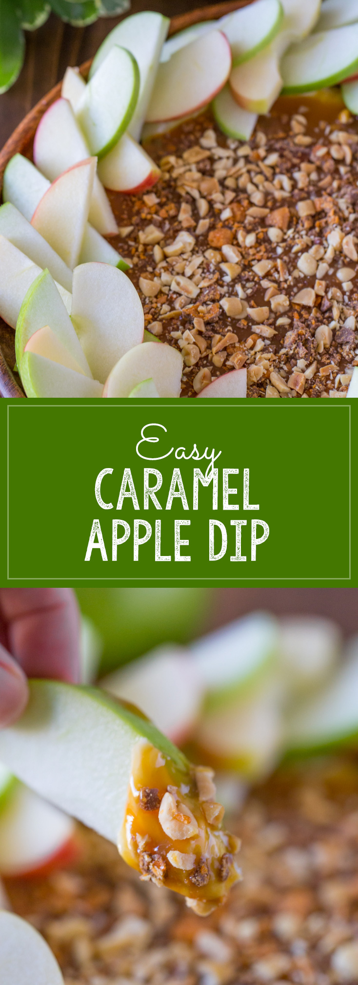 Easy Caramel Apple Dip - Layers of sweetened cream cheese, caramel, salty peanuts, and Butterfingers bits!