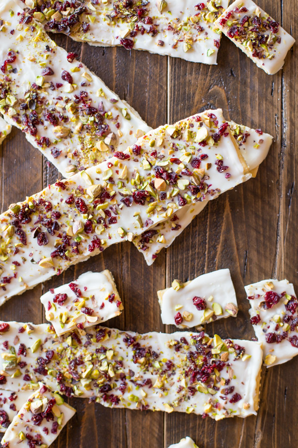 Varying sizes of Cranberry Pistachio Butter Cracker Bark.