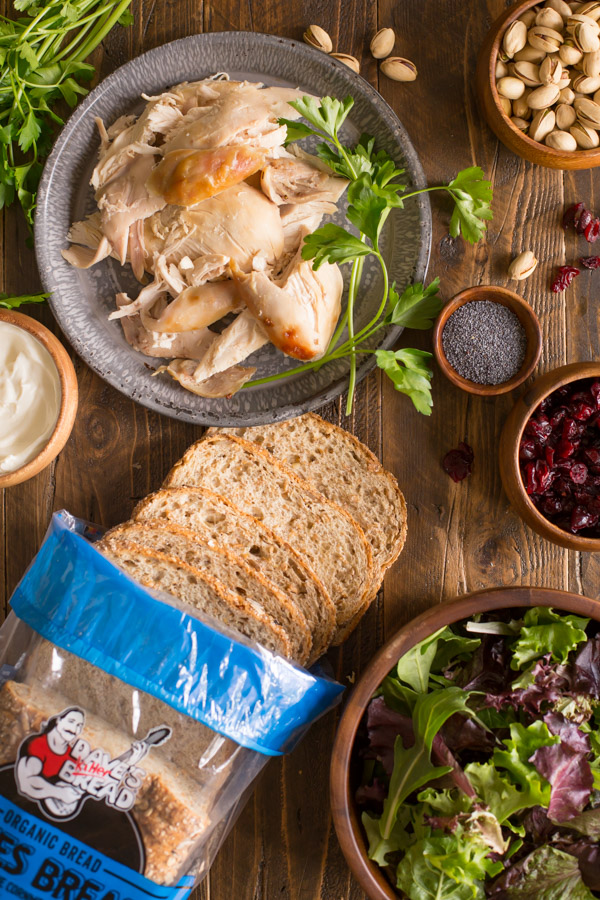 All the ingredients for a Cranberry Pistachio Chicken Salad Sandwich.