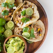 Crockpot Salsa Chicken Tacos - Easy, healthy, and everyone loves it! Game day crowd pleaser that almost makes itself!