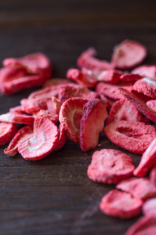 Dried strawberries for the Strawberry Glazed Ricotta Cookies.