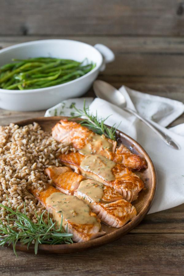 Seared Salmon Filets with Garlic Rosemary Pan Sauce