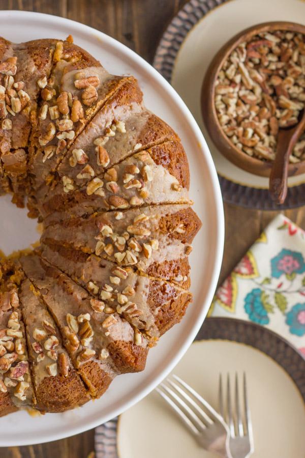 Pumpkin Bundt Cake With Maple Pecan Glaze