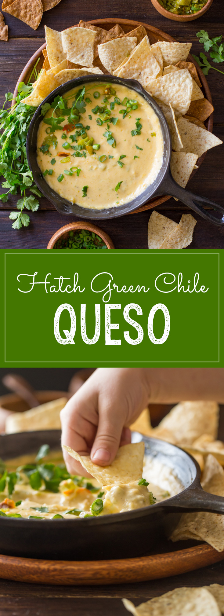 Hatch Green Chile Queso - Even without boxed cheese, this dip comes out smooth and creamy and is super quick and easy to make!