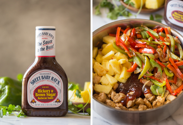 Two pictures side by side - One of a bottle of Sweet Baby Ray's Hickory and Brown Sugar Barbecue Sauce with a green pepper and pineapple chunks in the background, and the other of a large skillet with all the ingredients for the BBQ Chicken Fajitas in it.