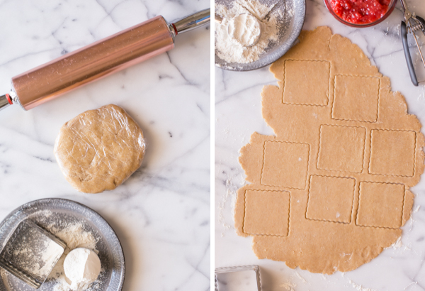 Step by step pictures - A picture of the crust dough wrapped in plastic, sitting by a rolling pin and a plate with a square cookie cutter and a measuring cup of flour, and a picture of the crust dough with square cuts, with the filling and a cookie scoop next to it.