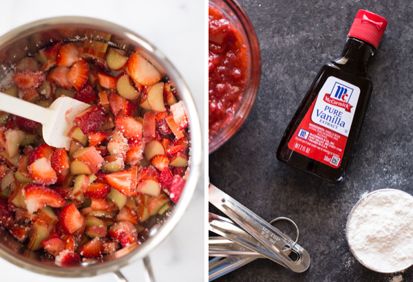 Step by step pictures - A picture of a pan with strawberries, rhubarb, sugar, orange juice and tapioca and a spatula, and a picture of bottle of McCormick Pure Vanilla Extract sitting next to a bowl of the strawberry rhubarb filling, some measuring spoons and a measuring cup of flour.