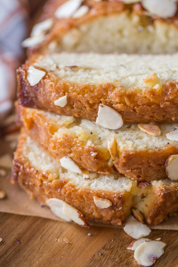 Glazed Almond Poppy Seed Bread sliced.