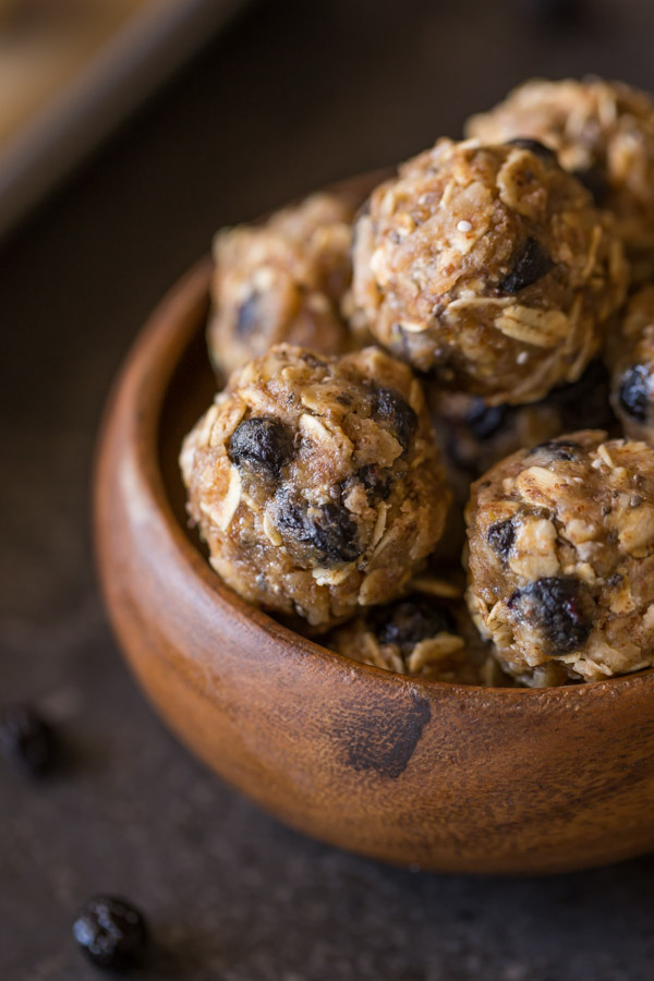 Blueberry Muffin Energy Bites in a small wood bowl.