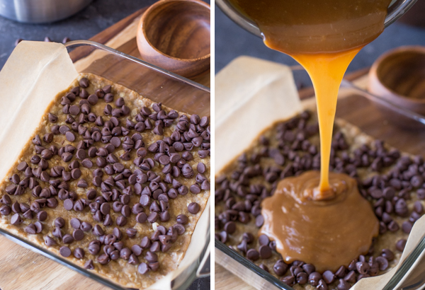 Two step pictures - the first showing the chocolate chips spread on top of the oatmeal mixture crust, and the second showing the caramel being poured on top of the chocolate chip layer.