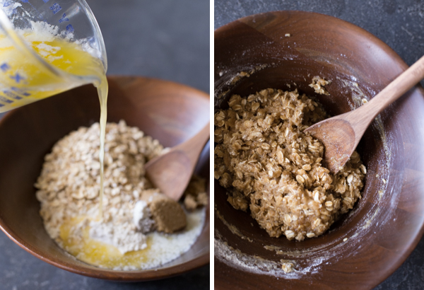 Two step pictures - the first showing the melted butter being poured into the bowl of brown sugar, flour, oats, and baking soda and the second is of all those ingredients mixed together.