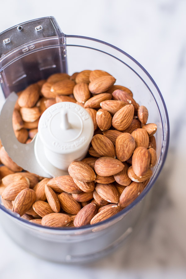 Almonds in a food processor.