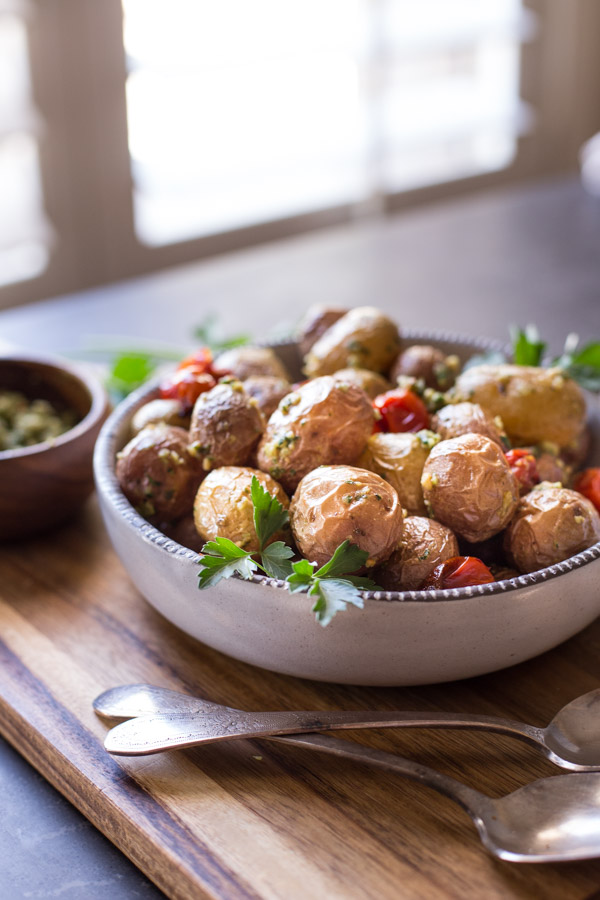Roasted Baby Potatoes With Pesto in a serving bowl.