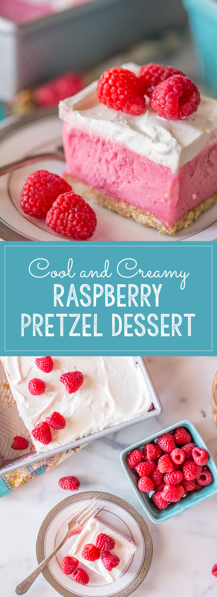A gorgeous raspberry sherbet dessert with a pretzel crust and a homemade whipped topping! Perfect for summertime get togethers!