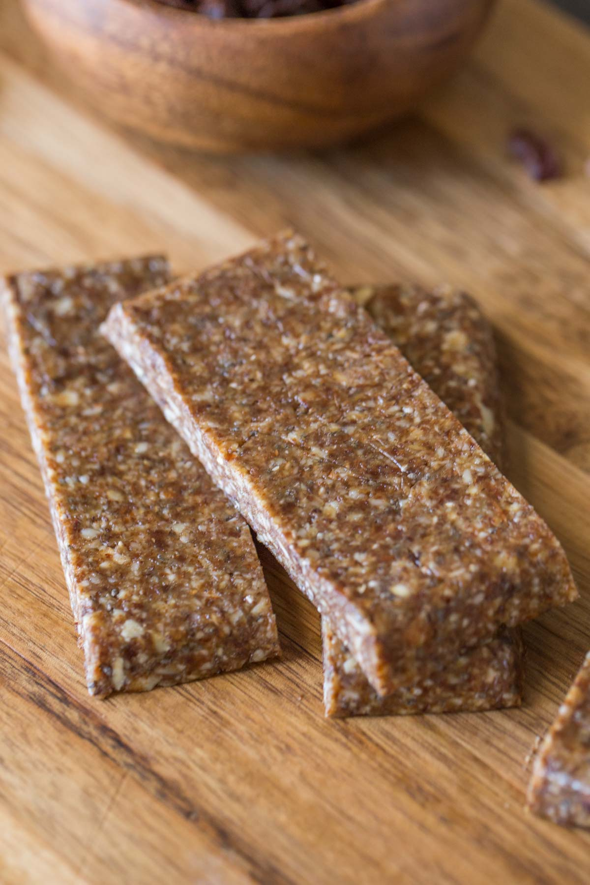 Five Ingredient No Bake Energy Bars on a cutting board.