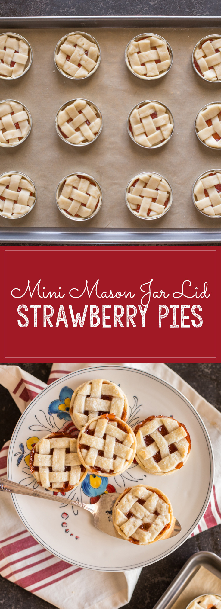 Buttery, flaky pie crust with strawberry jam for filling baked inside a mason jar lid!