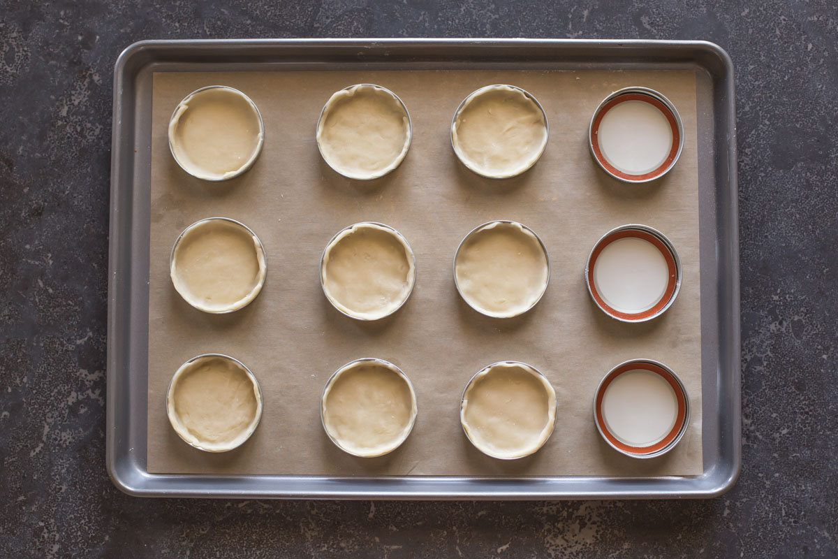 Mason jar lids arranged on a parchment paper lined baking sheet, with the pie dough in some of the lids.