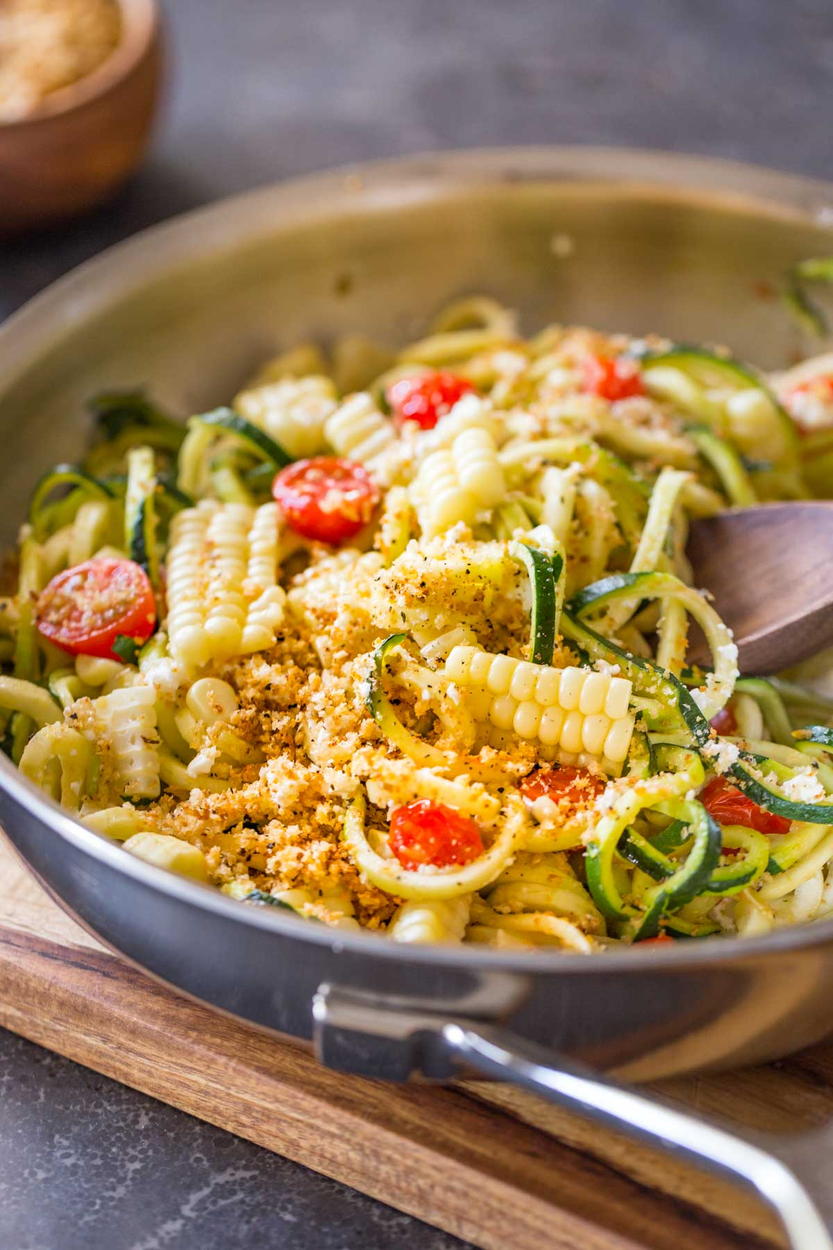 Sweet corn cut off the cob, red ripe tomatoes, and zucchini are the stars in my latest obsession. Topped with creamy feta and toasted Panko, this dish offers the best of the best!